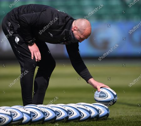 Steve Borthwick Director of Rugby for Leicester Tigers lines up rugby balls; 18th April 2021 2021; Recreation Ground, Bath, Somerset, England; English Premiership Rugby, Bath versus Leicester Tigers.