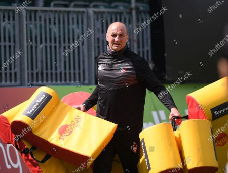 Stock Picture of Steve Borthwick Director of Rugby for Leicester Tigers puts out the tackle equipment; 18th April 2021 2021; Recreation Ground, Bath, Somerset, England; English Premiership Rugby, Bath versus Leicester Tigers.