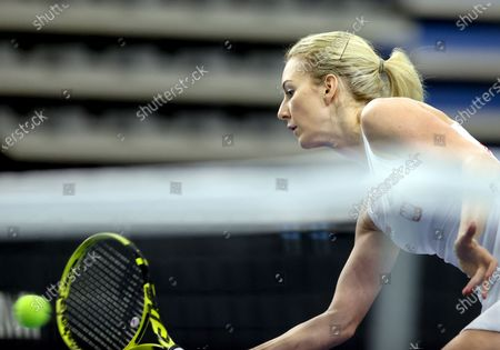 Stock Picture of Polish tennis player Urszula Radwanska in action during her sinlges match against Brazil tennis player Laura Pigossi for the Billy Jean King Cup play-off tie between Poland and Brazil, in Bytom, south Poland, 16 April 2021.