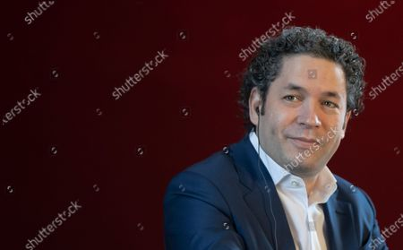 Venezuelan conductor Gustavo Dudamel attends a news conference in Paris, France, 16 April 2021. Dudamel was appointed as the new music director of the Paris Opera house.