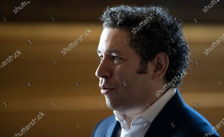 Venezuelan conductor Gustavo Dudamel speaks during a news conference in Paris, France, 16 April 2021. Dudamel was appointed as the new music director of the Paris Opera house.