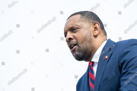 Stock Photo of Former State Rep. Vernon Jones announces his campaign for Georgia Governor in front of the state capitol in Atlanta, Georgia on April 16th, 2021.