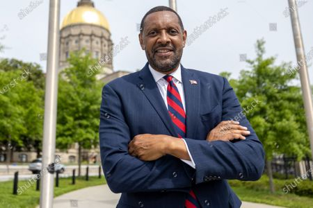 Former State Rep. Vernon Jones poses for a photo after his campaign announcement for Georgia Governor in front of the state capitol in Atlanta, Georgia on April 16th, 2021.
