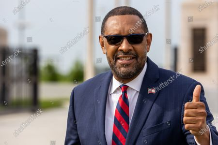 Former State Rep. Vernon Jones arrives at his campaign announcement for Georgia Governor in front of the state capitol in Atlanta, Georgia on April 16th, 2021.