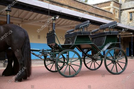 Britain's Prince Philip The Duke of Edinburgh's driving carriage and his two Fell ponies, named Balmoral Nevis and Notlaw Storm, pictured at Windsor Castle, Windsor, England, . Prince Philip's love of carriage-driving is to be a central feature of his funeral on upcoming Saturday April 17, when the carriage and ponies will be present with two of his grooms in the Quadrangle of Windsor Castle during the procession. The four wheeled carriage was designed by Prince Philip eight years ago. Prince Philip died at the age of 99 on April 9