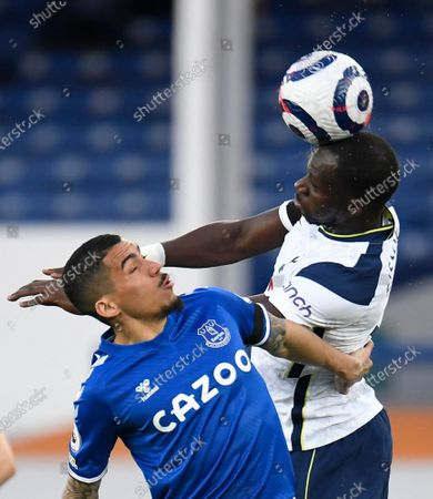 Everton's Allan, left, duels for the ball with Tottenham's Moussa Sissoko during the English Premier League soccer match between Everton and Tottenham Hotspur at Goodison Park in Liverpool, England