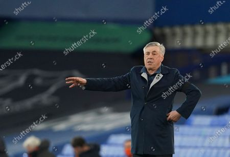 Everton's manager Carlo Ancelotti reacts during the English Premier League soccer match between Everton and Tottenham Hotspur at Goodison Park in Liverpool, England