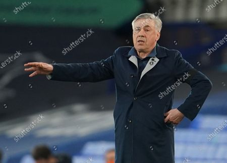 Stock Image of Everton's Manager Carlo Ancelotti reacts during the English Premier League soccer match between Everton FC and Tottenham Hotspur in Liverpool, Britain, 16 April 2021.
