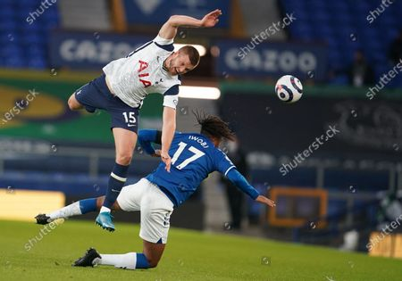 Alex Iwobi (R) of Everton in action against Eric Dier of Tottenham during the English Premier League soccer match between Everton FC and Tottenham Hotspur in Liverpool, Britain, 16 April 2021.