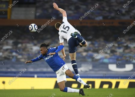 Alex Iwobi (L) of Everton in action against Eric Dier of Tottenham during the English Premier League soccer match between Everton FC and Tottenham Hotspur in Liverpool, Britain, 16 April 2021.