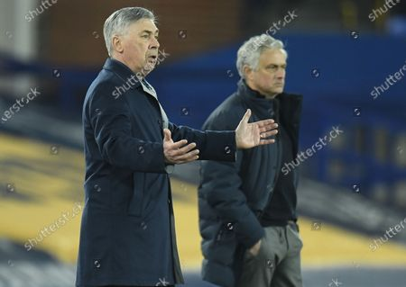 Stock Photo of Everton's Manager Carlo Ancelotti (L) reacts  during the English Premier League soccer match between Everton FC and Tottenham Hotspur in Liverpool, Britain, 16 April 2021.