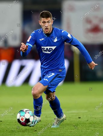 Stock Picture of Andrej Kramaric of TSG Hoffenheim controls the ball during the German Bundesliga soccer match between RB Leipzig and TSG Hoffenheim at Red Bull Arena in Leipzig, Germany, 16 April 2021.