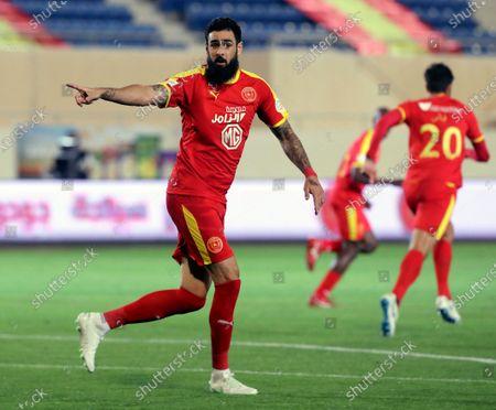 Al-Qadisiyah's player Rhys Williams gestures during the Saudi Professional League soccer match between Al-Qadisiyah and Al-Raed at Prince Saud bin Jalawi Stadium, al-Khobar, Saudi Arabia, 16 April 2021.
