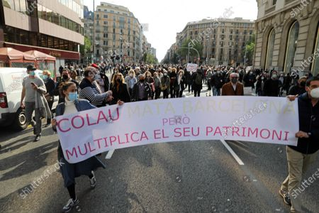 Editorial picture of Demonstration Against The Mayor Of Barcelona, Spain - 16 Apr 2021