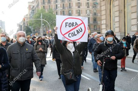 Editorial image of Demonstration Against The Mayor Of Barcelona, Spain - 16 Apr 2021