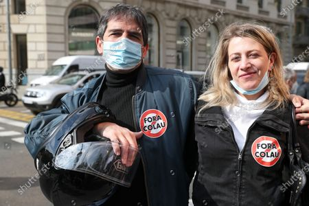 Editorial photo of Demonstration Against The Mayor Of Barcelona, Spain - 16 Apr 2021