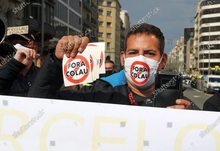 Stock Picture of Demonstration to request the resignation of the Mayor of Barcelona, Ada Colau, accused by many citizens of destroying the city of Barcelona and of alleged irregularities in its management, in Barcelona on 16th April 2021. Photo:  --