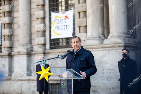 Giuseppe Sala attends A ricordare e riveder le stelle commemoration for the XXVI Day of Remembrance and Commitment in Memory of the Innocent Victims of the mafia in front of Palazzo Marino on March 20, 2021 in Milan, Italy