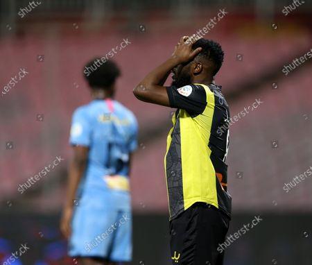 Al-Ittihad's player Fahad Al Muwallad reacts during the Saudi Professional League soccer match between Al-Ittihad and Al-Batin at King Abdulaziz Stadium, Mecca, Saudi Arabia, 16 April 2021.
