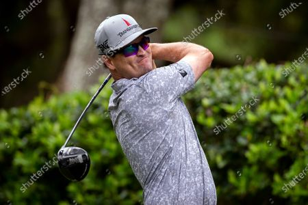 Zach Johnson hits off the 16th tee during the second round of the RBC Heritage golf tournament in Hilton Head Island, S.C