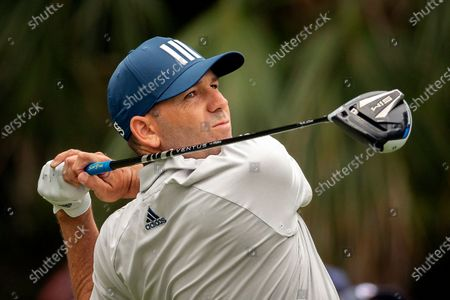 Sergio Garcia, of Spain, watches his shot down the ninth tee during the second round of the RBC Heritage golf tournament in Hilton Head Island, S.C