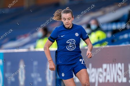 Stock Image of Jorja Fox (29 Chelsea) on the ball during the Vitality Womens FA Cup game between Chelsea and London City Lionesses at Kingsmeadow, in Kingston, England.