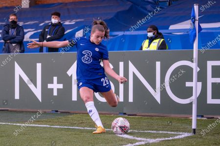 Jorja Fox (29 Chelsea) takes a corner during the Vitality Womens FA Cup game between Chelsea and London City Lionesses at Kingsmeadow, in Kingston, England.