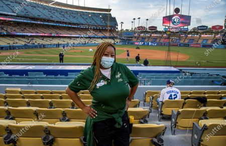 Sachi Robinson, niece of the great Jackie Robinson works as an usher at Dodger Stadium on Jackie Robinson Day on April 15, 2021 in Los Angeles, California.(Gina Ferazzi / Los Angeles Times)