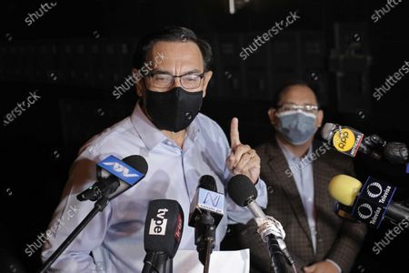 Former Peruvian President Martin Vizcarra (2018-2020) offers statements to the press outside his home, in Lima, Peru, 16 April 2021. Vizcarra was disqualified from holding any public office for ten years by the Peruvian Congress, for being secretly vaccinated against COVID-19 last year.