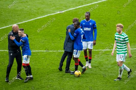 Rangers Assistant Manager Gary McAllister celebrates with Ryan Kent at the end of the Scottish Cup match at Ibrox Stadium, Glasgow.