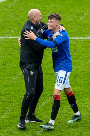 Nathan Patterson of Rangers celebrates at the end with Assistant Manager Gary McAllister at the Scottish Cup match at Ibrox Stadium, Glasgow.