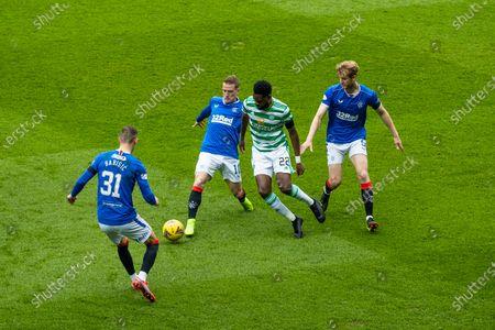 Borna Barisic, Steven Davis and Filip Helander of Rangers surround Odsonne Edouard of Celtic during the Scottish Cup match at Ibrox Stadium, Glasgow.