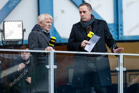 Former Celtic Manager Gordon Strachan and former Rangers player David Weir on for Premier Sports at the Scottish Cup match at Ibrox Stadium, Glasgow.
