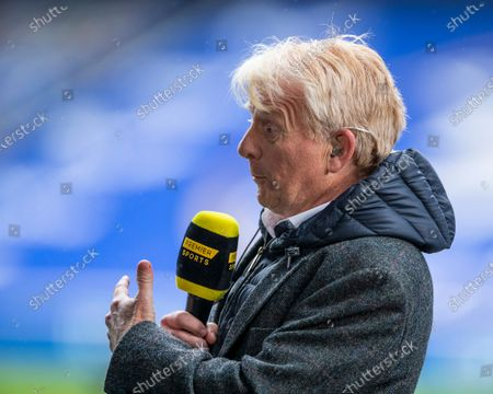 Stock Picture of Former Celtic Manager Gordon Strachan on for Premier Sports at the Scottish Cup match at Ibrox Stadium, Glasgow.