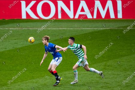 Filip Helander of Rangers holds off David Turnbull of Celtic during the Scottish Cup match at Ibrox Stadium, Glasgow.