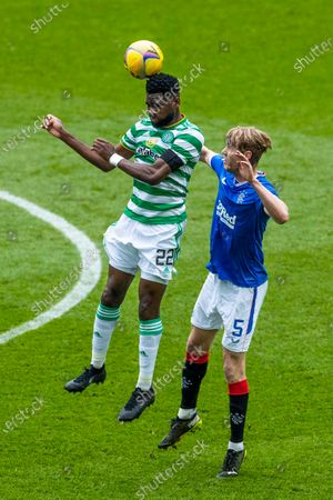 Filip Helander of Rangers jumps with Odsonne Edouard of Celticduring the Scottish Cup match at Ibrox Stadium, Glasgow.