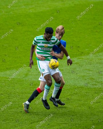 Filip Helander of Rangers battles with Odsonne Edouard of Celtic during the Scottish Cup match at Ibrox Stadium, Glasgow.