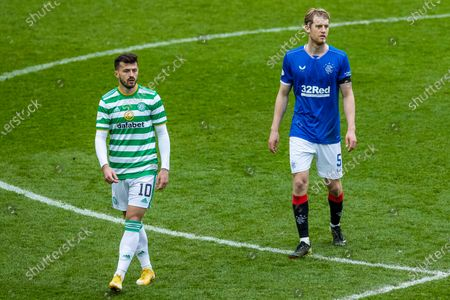 Albian Ajeti of Celtic and Filip Helander of Rangers during the Scottish Cup match at Ibrox Stadium, Glasgow.