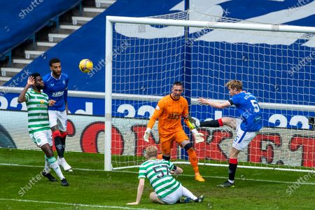Filip Helander of Rangers clears the ball of the line during the Scottish Cup match at Ibrox Stadium, Glasgow.