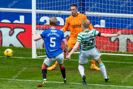 Filip Helander of Rangers plus back Stephen Welsh of Celtic during the Scottish Cup match at Ibrox Stadium, Glasgow.