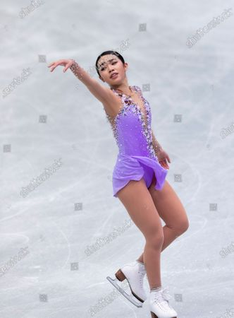 USA's Karen Chen performs during the women's free skating program of the ISU World Team Trophy figure skating competition in Osaka, western Japan