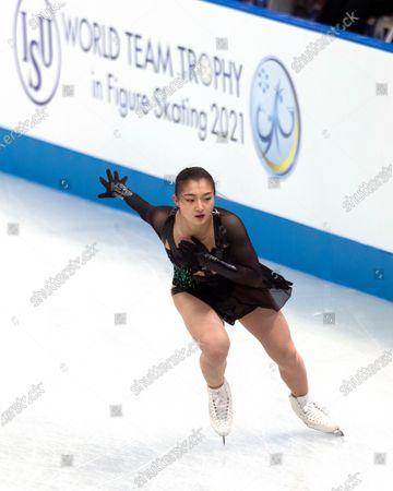 Japan's Kaori Sakamoto performs during the women's free skating program of the ISU World Team Trophy figure skating competition in Osaka, western Japan