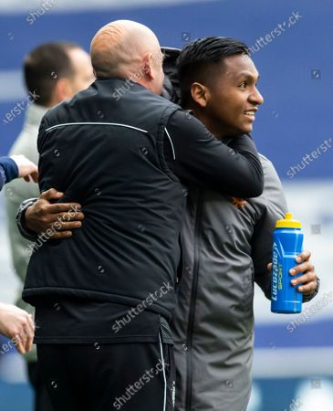 Rangers Assistant Manager Gary McAllister and Rangers Forward Alfredo Morelos embrace at the end of the match
