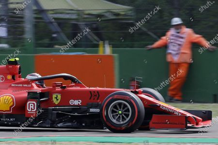 Ferrari driver Carlos Sainz of Spain steers his car during free practice for Sunday's Emilia Romagna Formula One Grand Prix, at the Imola track, Italy