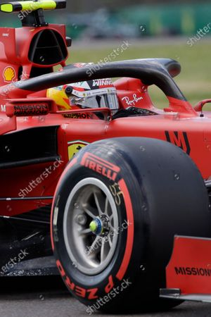 Ferrari driver Carlos Sainz of Spain steers his car during qualifying practice for Sunday's Emilia Romagna Formula One Grand Prix, at the Imola track, Italy