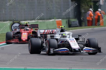 Haas driver Mick Schumacher of Germany is followed by Ferrari driver Carlos Sainz of Spain during free practice for Sunday's Emilia Romagna Formula One Grand Prix, at the Imola track, Italy