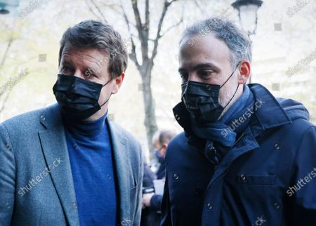 EELV Green party European deputy Yannick Jadot greets Place Publique party European deputy Raphael Glucksmann (R) upon arrival for a meeting of left-wing leaders for the 2022 presidential elections, in Paris, France, 17 April 2021.