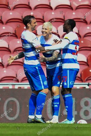 GOAL 0-2 Lee Wallace (#3) of Queens Park Rangers FC is congratulated by Lyndon Dykes (#9) of Queens Park Rangers FC after he scores the second goal during the EFL Sky Bet Championship match between Middlesbrough and Queens Park Rangers at the Riverside Stadium, Middlesbrough