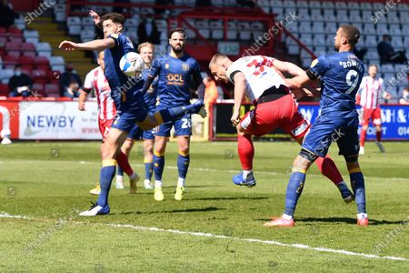 Luke Norris of Stevenage FC header is saved during Stevenage vs Mansfield Town, Sky Bet EFL League 2 Football at the Lamex Stadium on 17th April 2021