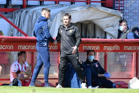 Stevenage FC Manager Alex Revell and Mansfield Town FC Manager Nigel Clough At the Final Whistle Applause Fan's during Stevenage vs Mansfield Town, Sky Bet EFL League 2 Football at the Lamex Stadium on 17th April 2021
